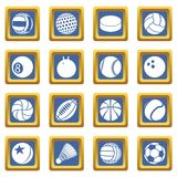 Vecteur carré bleu réglé par icônes de boules de sport Photos libres de droits