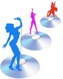 Vecteur Cd de chanteurs et de danseurs Photographie stock