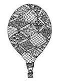 Vecteur chaud de ballon à air Zentangle et ballon à air chaud de griffonnage Photo stock