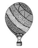 Vecteur chaud de ballon à air Zentangle et ballon à air chaud de griffonnage Images stock