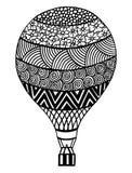 Vecteur chaud de ballon à air Zentangle et ballon à air chaud de griffonnage Photographie stock