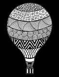Vecteur chaud de ballon à air Zentangle et ballon à air chaud de griffonnage Images libres de droits
