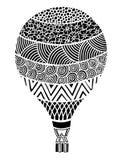 Vecteur chaud de ballon à air Zentangle et ballon à air chaud de griffonnage Photos stock