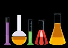 Vecteur chimique d'illustration d'icônes de tubes à essai Images libres de droits