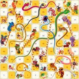 Vecteur chinois de nouvelle année de serpent et de jeu de société d'échelle Image stock