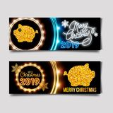 Vecteur chinois heureux de calibre de conception de la nouvelle année 2019 Nouvelle année chinoise de carte de voeux de porc, ban illustration de vecteur