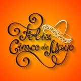 Vecteur Cinco de Mayo Inscription avec le sombrero Photographie stock libre de droits