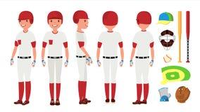 Vecteur classique de joueur de baseball Uniforme classique Différentes poses d'action Illustration plate de bande dessinée Photographie stock