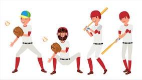 Vecteur classique de joueur de baseball Uniforme classique Différentes poses d'action Illustration plate de bande dessinée Image stock