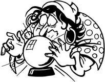 Vecteur Clipart de conception de bande dessinée de diseur de bonne aventure Photo stock