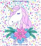 vecteur coloré d'illustration de Noël de carte Image libre de droits