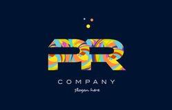 vecteur coloré de calibre d'icône de logo de lettre d'alphabet de RP p r Image libre de droits