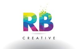 Vecteur coloré de conception de triangles d'origami de lettre du RB R B Images libres de droits