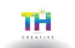 Vecteur coloré de conception de triangles d'origami de lettre du TH T H Photo libre de droits