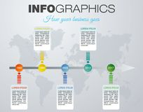 Vecteur coloré moderne de calibre d'options d'infographics avec b gris Photo stock