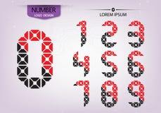 Vecteur coloré ornemental de nombres abstraits de modèle Photos stock