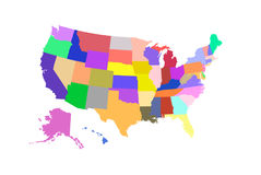 Vecteur coloré par carte d'état des Etats-Unis Images stock