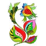 Vecteur Composition décorative - Paisley sur un fond blanc Modèle dans le style ethnique Composition de fleur Fleurs stylisées Em Photos stock