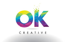 Vecteur CORRECT de conception de triangles d'origami de O.K. Colorful Letter Image stock