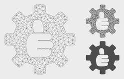 Vecteur CORRECT Mesh Carcass Model de pouce de vitesse et icône de mosaïque de triangle illustration de vecteur