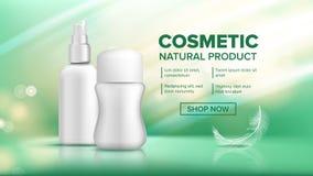 Vecteur cosmétique de produit de bouteille Annonces de commercialisation Soin facial Beauté Bckground Blanc de pot maquette 3D ré illustration de vecteur