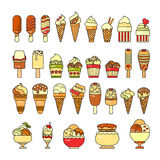 vecteur crème procurable de graphisme de glace Ensemble de diverses icônes mignonnes de desserts images libres de droits