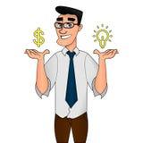 Vecteur créatif de concept d'idée de caractère d'homme d'affaires illustration libre de droits