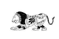 Vecteur décoratif ornemental d'icône de vieux rétro lion grec Photographie stock libre de droits