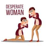 Vecteur désespéré de femme Personne désespérée d'effort Cri perçant de fille de femme Colère, Shok Illustration illustration stock