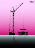 Vecteur détaillé élevé levant la grue avec la réflexion soulevant une charge sur le fond rose Images stock