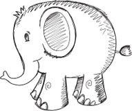 Vecteur d'éléphant de griffonnage Photo libre de droits