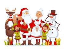 Vecteur d'épouse de Santa Claus et de famille de cartoot d'enfants Photo libre de droits