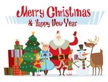 Vecteur d'épouse de Santa Claus et de famille de cartoot d'enfants Image libre de droits