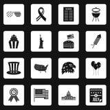 Vecteur d'équerres d'icônes de drapeau de Jour de la Déclaration d'Indépendance Photo libre de droits