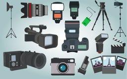 Vecteur d'équipement de photographe Photo stock