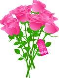 vecteur d'étiquette de roses de cadeau de bouquet Photographie stock libre de droits