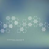 Vecteur d'ADN et de neurones de molécule Structure moléculaire Lignes reliées avec des points Composés chimiques génétiques chimi Photographie stock libre de droits