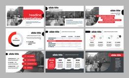 Vecteur d'affaires de la présentation Template Éléments géométriques rouges pour des présentations de diapositives sur un fond bl illustration libre de droits