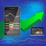 Vecteur d'affichage d'actions de téléphone et d'ordinateur portable Photographie stock