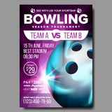 Vecteur d'affiche de bowling Annonce de manifestation sportive La publicité de bannière de club Ligue professionnelle Invitation  illustration stock