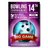 Vecteur d'affiche de bowling Boule de bowling Conception verticale pour la promotion de barre de sport Tournoi, conception d'inse illustration de vecteur