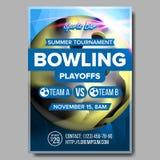 Vecteur d'affiche de bowling Conception pour le bar de sport, café, promotion de barre Boule de bowling Tournoi moderne Taille A4 illustration stock