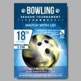 Vecteur d'affiche de bowling E Annonce de manifestation sportive Boule Taille A4 Annonce, jeu, conception de ligue illustration stock