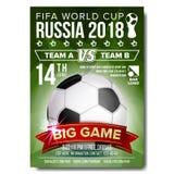 Vecteur 2018 d'affiche de coupe du monde de la FIFA Accueil vers la Russie Boule du football du football Conception pour la promo Photographie stock libre de droits