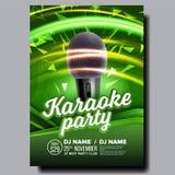 Vecteur d'affiche de karaoke Bannière de disco Équipement de voix de karaoke Chantez la chanson Concurrence de divertissement Ann illustration de vecteur
