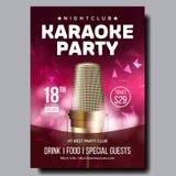 Vecteur d'affiche de karaoke Bannière de disco Équipement de voix de karaoke Chantez la chanson Concurrence de divertissement Ann illustration libre de droits