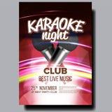 Vecteur d'affiche de karaoke Chantez la chanson Événement de danse de karaoke Studio de cru Disque de musical Objet d'émission Co illustration stock