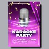 Vecteur d'affiche de karaoke Chantez la chanson Événement de danse de karaoke Studio de cru Disque de musical Objet d'émission Co illustration libre de droits