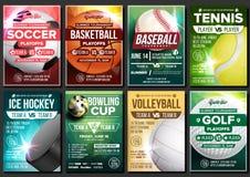 Vecteur d'affiche de sport Le football, tennis, golf, basket-ball, bowling, base-ball, hockey sur glace Calibre de conception d'é illustration de vecteur
