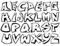 Vecteur d'alphabet anglais d'A à Z dans le style noir et blanc de graffiti illustration stock